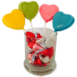 Valentine's Day Conversation Heart Chocolate Lollipops