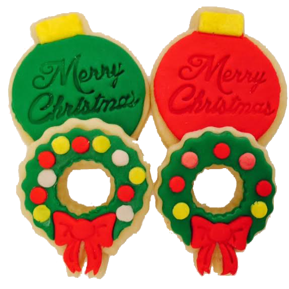 Christmas Ornament and Wreath Cookies