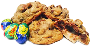 Cadbury Creme Egg Filled Chocolate Chip Cookies