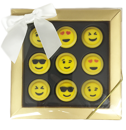 Mini Chocolate Covered Oreos with Sugar Icing Emojis