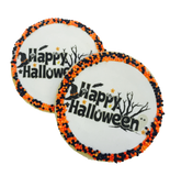 """Happy Halloween"" Sugar Cookies with Nonpareils"
