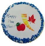 Happy New Year Sugar Cookies with Sprinkles and Edible Image