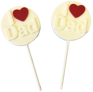 """I Love Dad"" White Chocolate Lollipops"