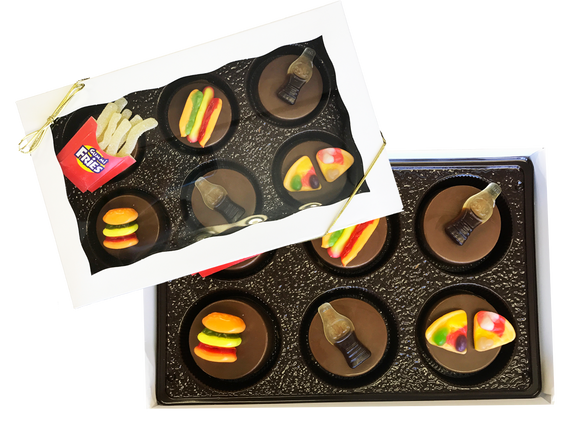 Chocolate Covered Oreos with Candy Junk Food Toppers Gift Box