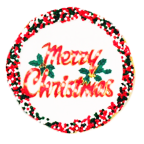 """Merry Christmas"" Sugar Cookies with Nonpareils"