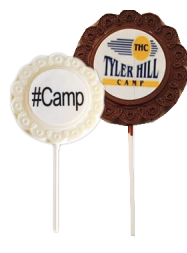Logo Flower Border Chocolate Lollipops