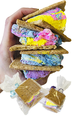 Graham Cracker Sandwich With Tie-Dye Marshmallow Filling