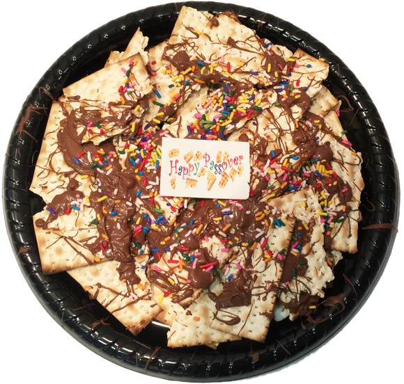 Chocolate Sprinkled Matzo Platter