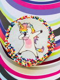 Dabbing Unicorn Sugar Cookies with Nonpareils