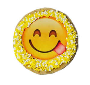 Tongue Out Emoji Sugar Cookies with Nonpareils
