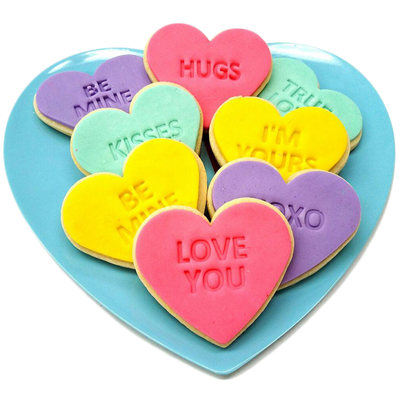 Valentine's Day Conversation Heart Cookies - gifts