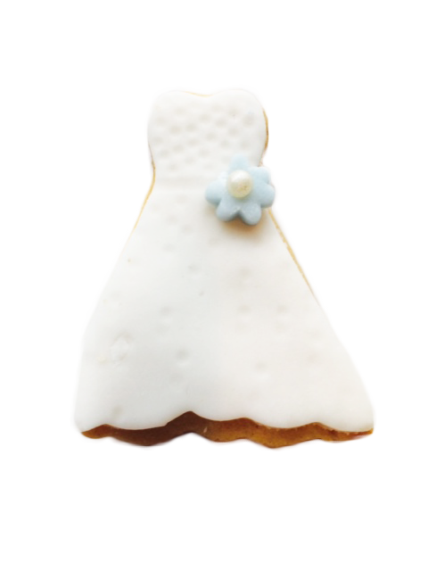 Wedding Dress with Flower Applique Cookies
