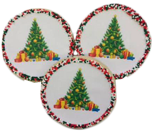 Christmas Tree Sugar Cookies with Nonpareils