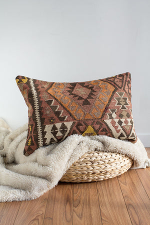 Handwoven Kilim Throw Pillow - Dahlia - 16x24
