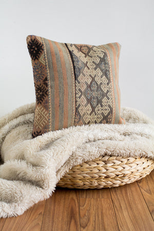 Handwoven Kilim Throw Pillow - Dantel  - 16x16