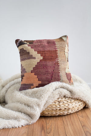 Handwoven Kilim Throw Pillow - Dara - 16x16