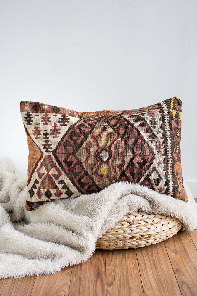 Handwoven Kilim Throw Pillow - Delilah - 16x24