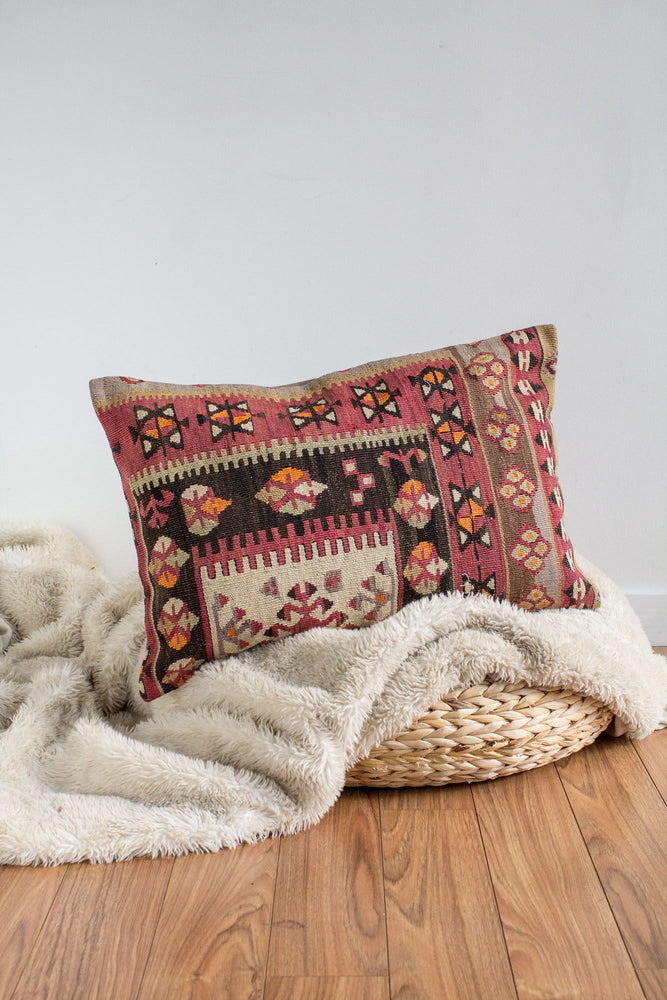 Handwoven Kilim Throw Pillow - Denizli Lumbar - 16x24