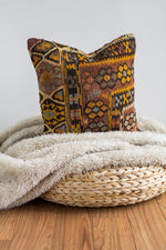 Handwoven Kilim Throw Pillow - Flower Power  - 16x16