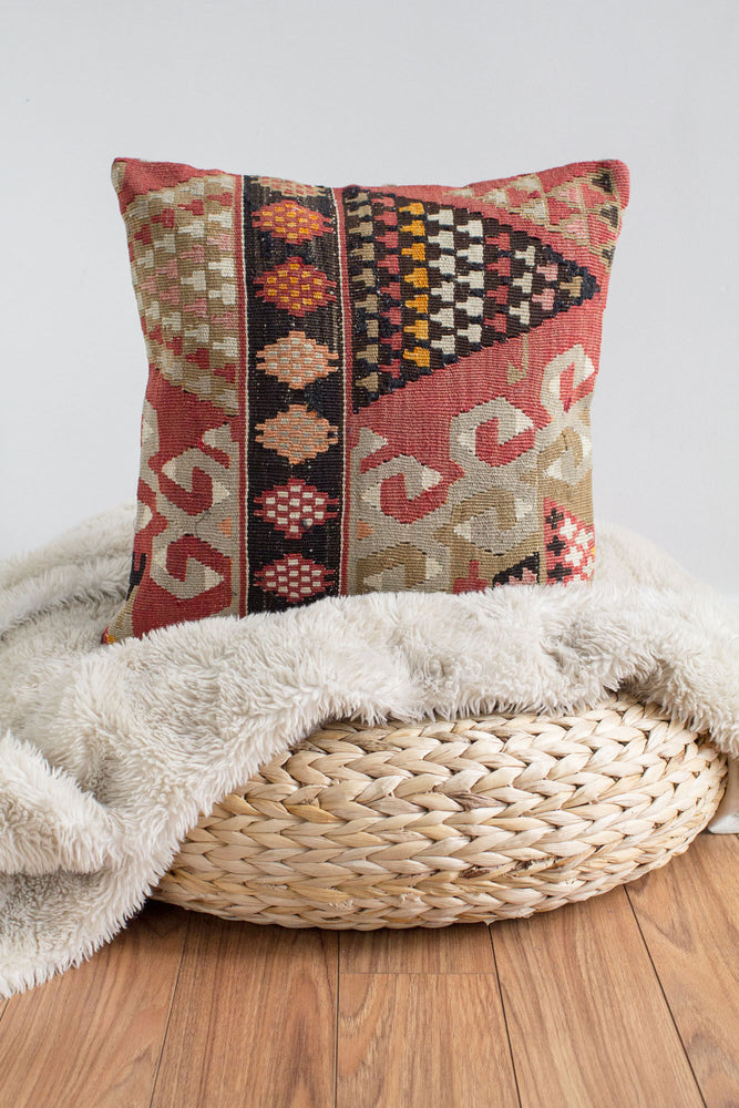 Handwoven Kilim Throw Pillow - Istanbul - 16x16