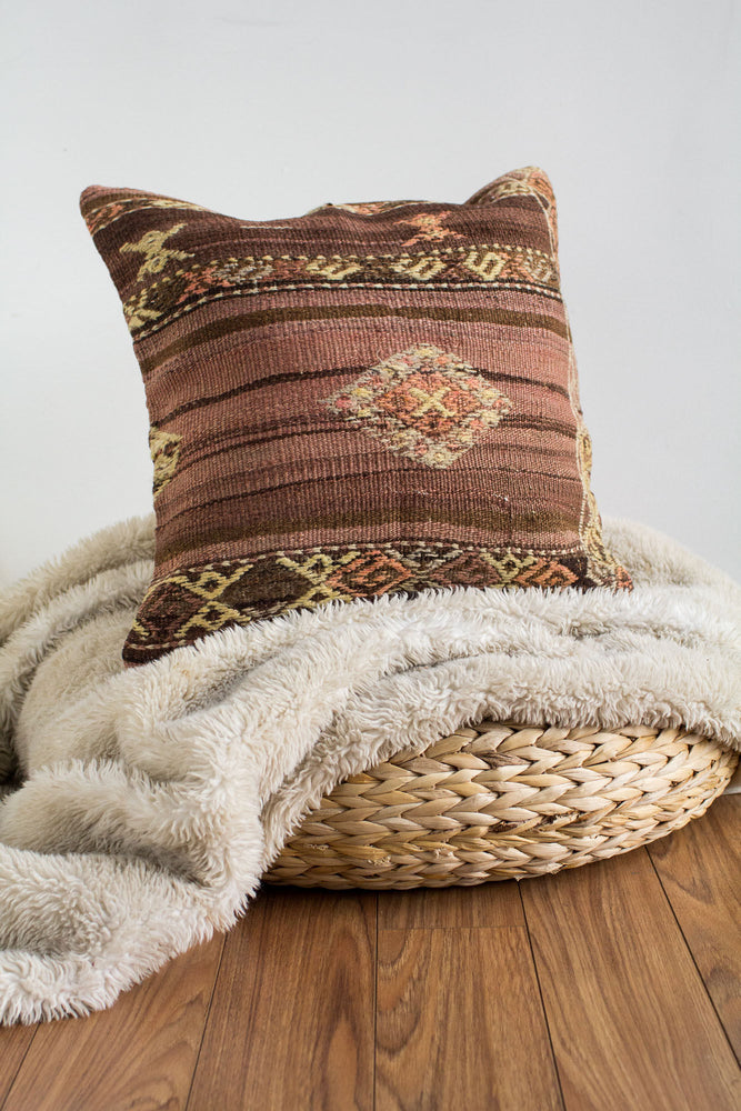Handwoven Kilim Throw Pillow - Jaffa - 18x18