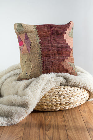 Handwoven Kilim Throw Pillow - Kara - 16x16
