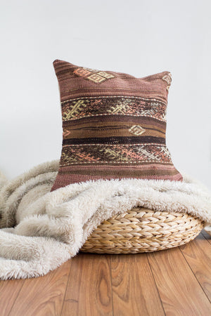 Handwoven Kilim Throw Pillow - Kesir - 18x18