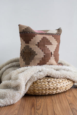 Handwoven Kilim Throw Pillow - Lara - 16x16