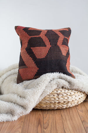Handwoven Kilim Throw Pillow - Tellus - 16x16