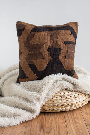 Handwoven Kilim Throw Pillow - Terra - 16x16