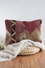 Handwoven Kilim Throw Pillow - Antalya Lumbar - 16x24