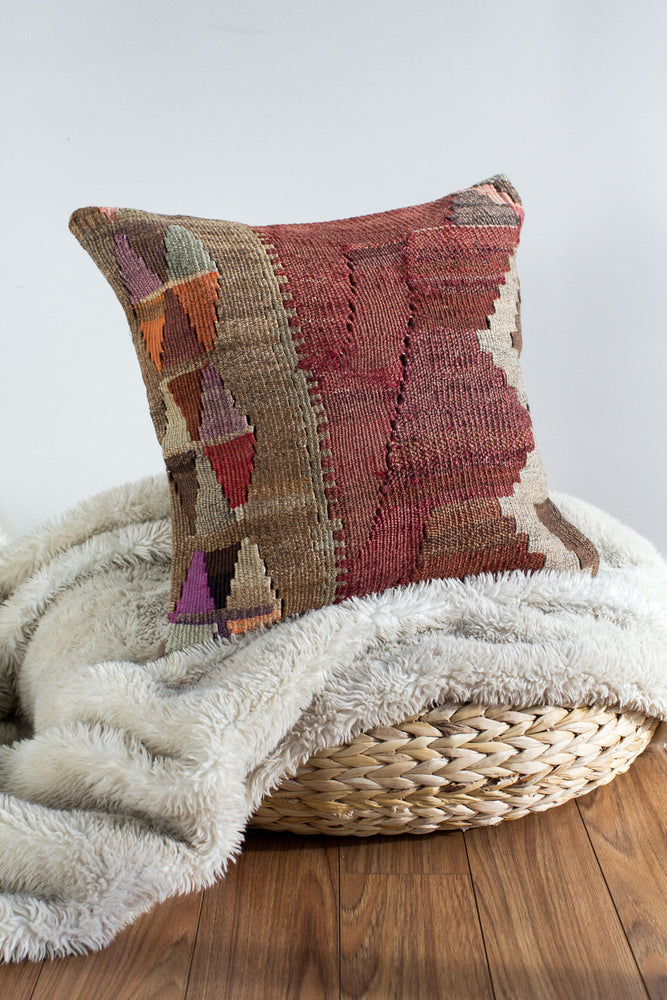 Handwoven Kilim Throw Pillow - Kara - 18x18