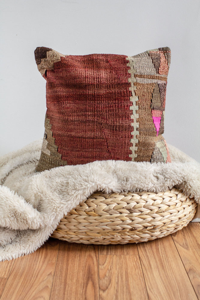 Handwoven Kilim Throw Pillow - Mara - 16x16