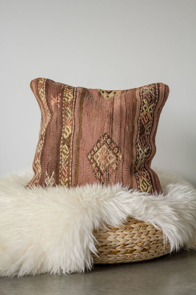 Handwoven Kilim Throw Pillow - Balikesir - 18x18