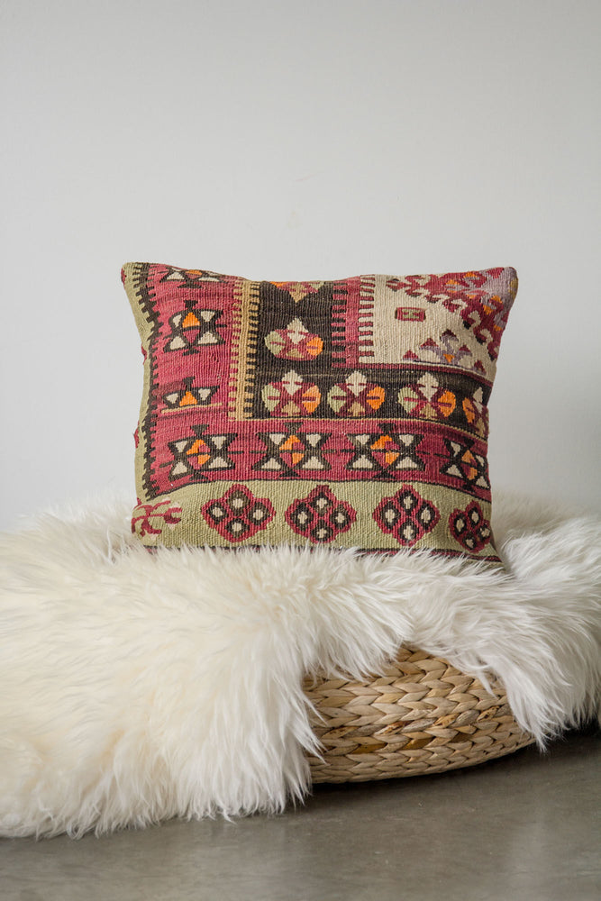 Handwoven Kilim Throw Pillow - Denizli - 16x16