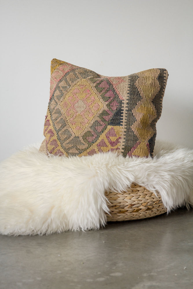 Handwoven Kilim Throw Pillow - Herki - 18x18