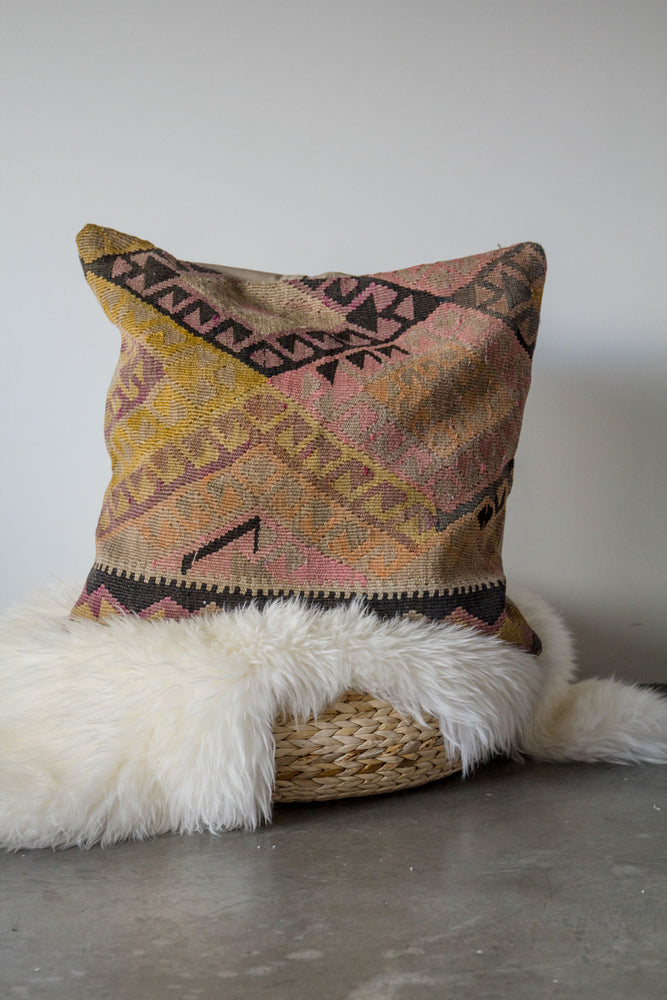 Handwoven Kilim Throw Pillow - Herki Large - 24x24