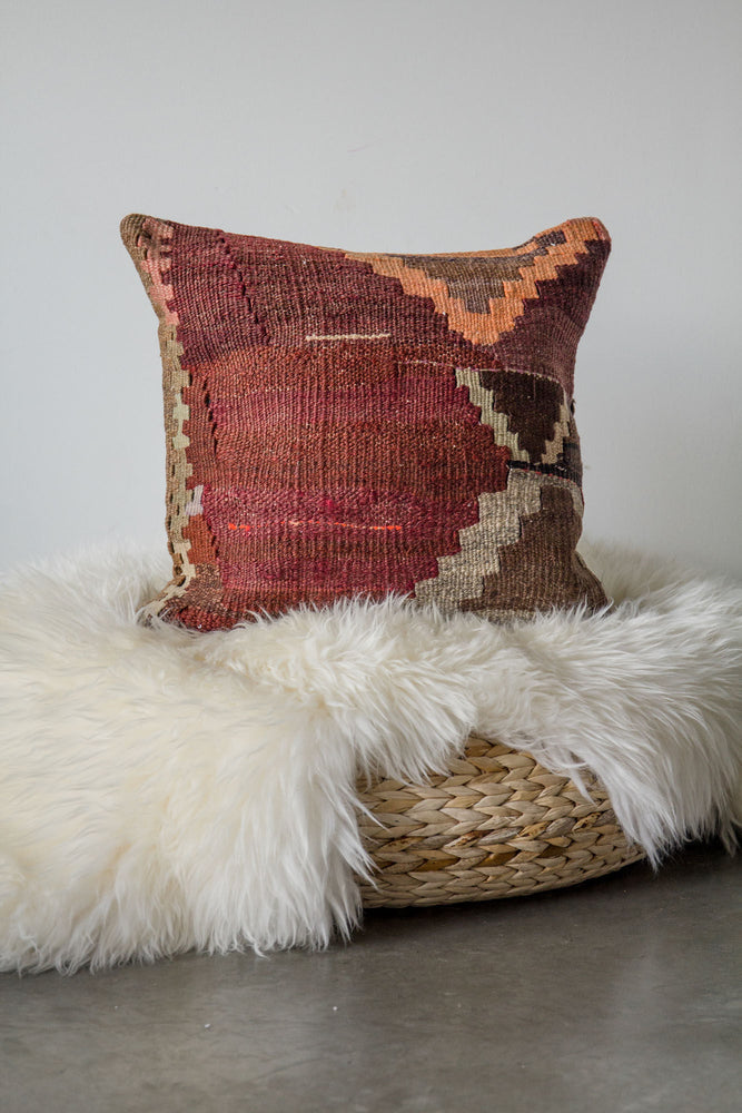 Handwoven Kilim Throw Pillow - Kars - 16x16