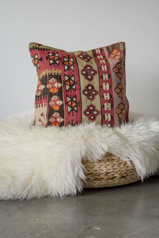 Handwoven Kilim Throw Pillow - Kayseri - 16x16