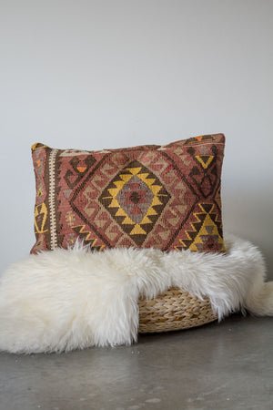 Handwoven Kilim Throw Pillow - Kars Lumbar - 16x24