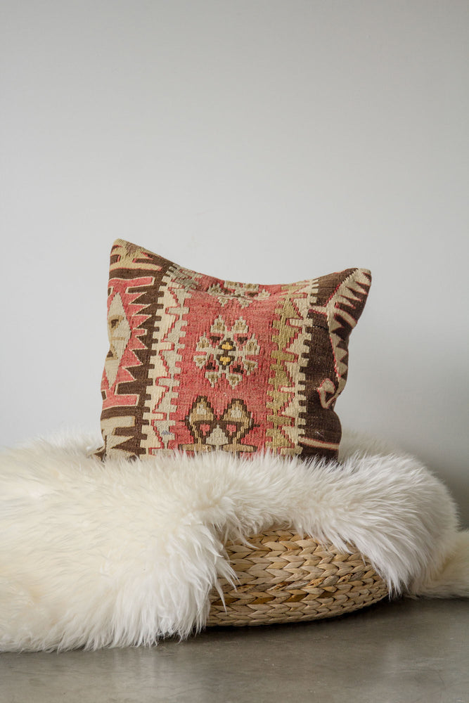 Handwoven Kilim Throw Pillow - Maras - 16x16