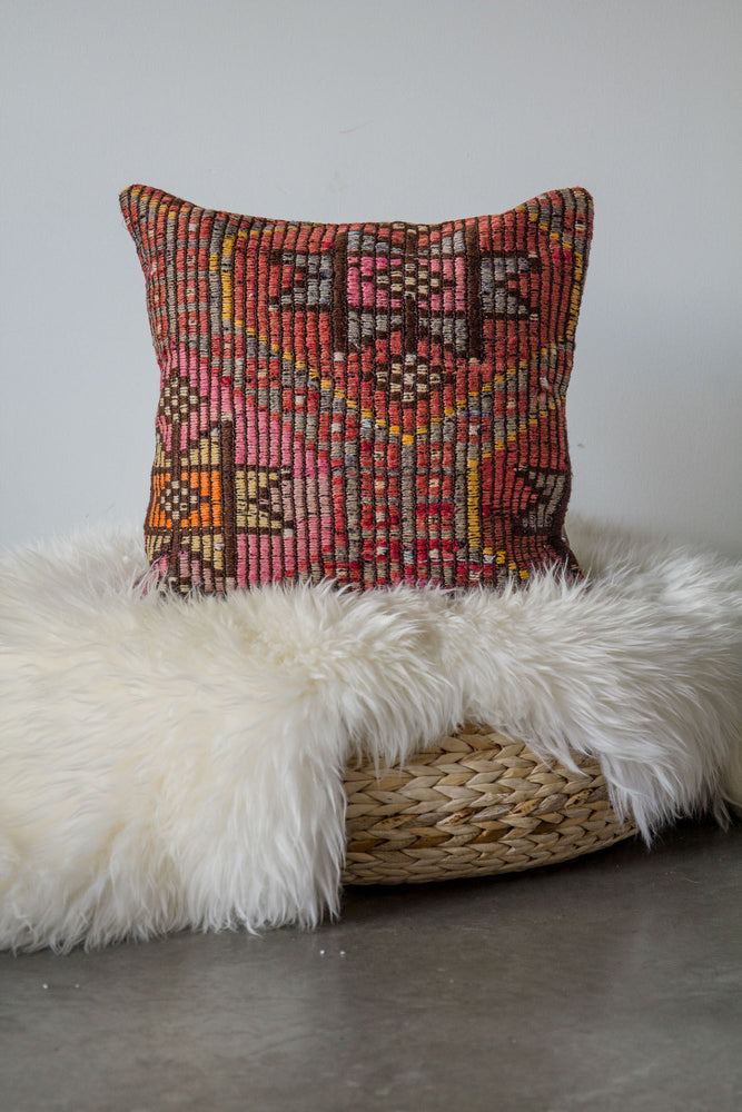 Handwoven Kilim Throw Pillow - Mut - 16x16