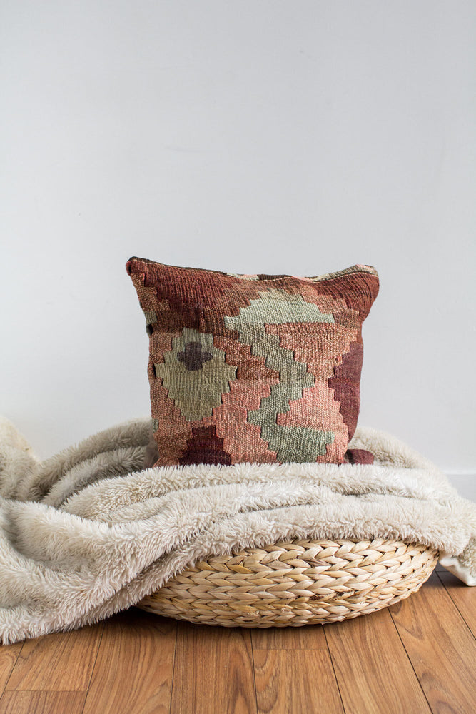 Handwoven Kilim Throw Pillow - Antalya - 16x16