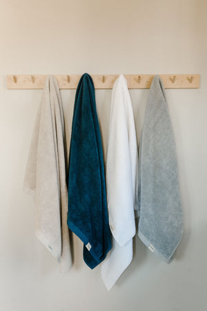 blue beige white and grey Turkish terry organic cotton bath towels