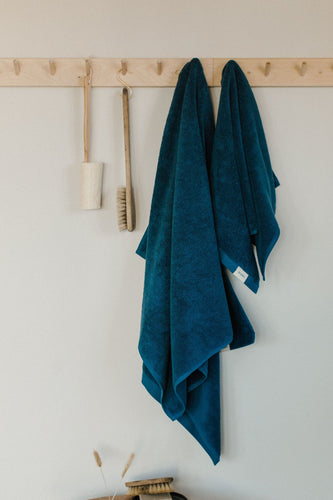 blue organic cotton Turkish terry towel
