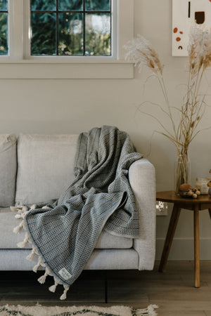 blue organic cotton Turkish blanket