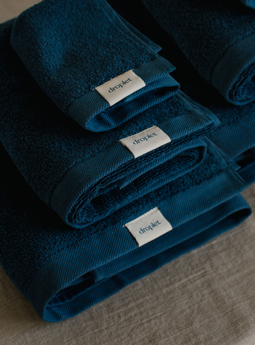 blue organic cotton towel set from Turkey