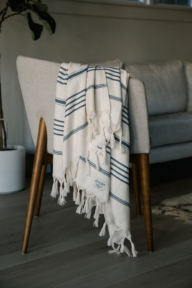 stripey blue organic cotton Turkish towel