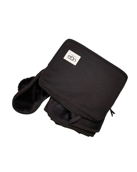 UGG 1094730 Black Duffield Throw with Soft Pouch Travel Set myselflingerie.com