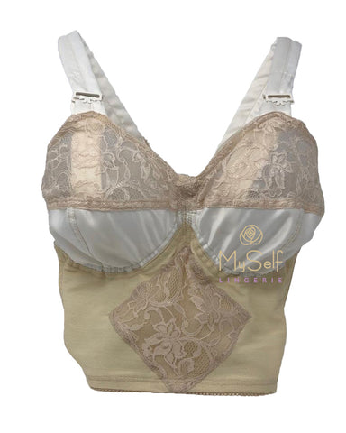 Edith Lances 7453 Satin and Lace Underwire Longline Bra myselflingerie.com